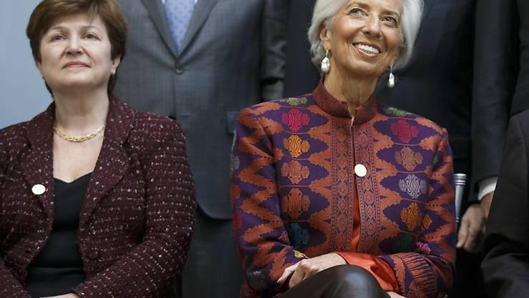 Altersbeschränkung aufgehoben: Die 66-jährige Kristalina Georgiewa (links) kann Nachfolgerin von Christine Lagarde an der Spitze des IWF werden. (Archivbild)