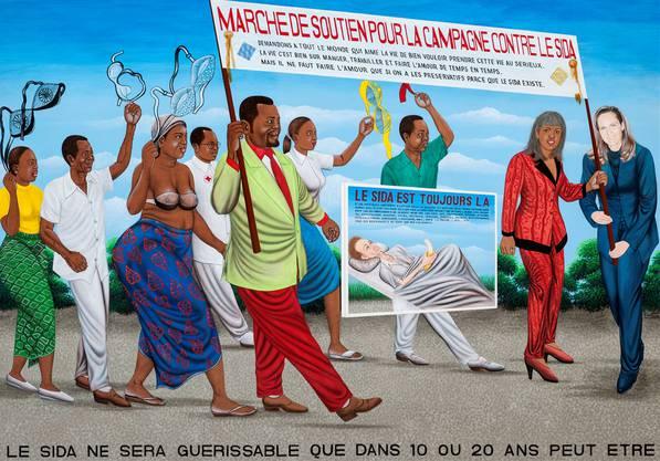 Zu sehen in Zürich: «La Marche de soutien contre le Sida» des kongolesischen Künstlers Chéri Samba.