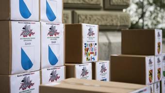 SVP-Vertreter haben die Unterschriften zur Begrenzungsinitiative am 31. August 2018 in Bern eingereicht. (Archiv)