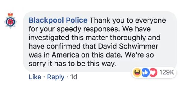 Die Polizei von Blackpool beweist ebenfalls Humor. (Bild: Facebook/Blackpool Police)