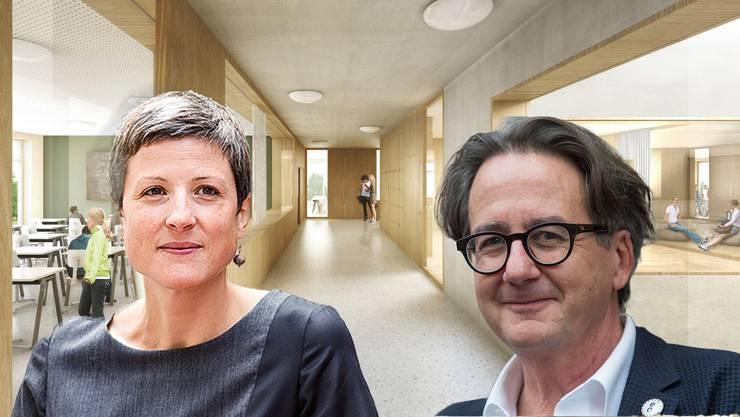Visualisierung des neuen Sekundarstufenzentrums: Unnötig oder zu gross geplant?Sandra Kohler und Erich Obrist sind gegen den Kredit.