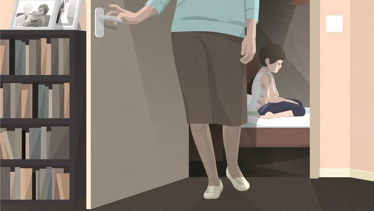 Ein sexueller Missbrauch durch die Mutter ist enorm schambesetzt. Auch deshalb gehen Fachleute von einer hohen Dunkelziffer aus. Illustration: Corina Vögele