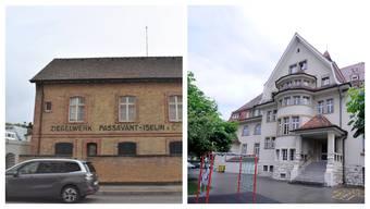Bauten, die Allschwil präg(t)en: Eines der beiden früheren Ziegelei-Pförtnerhäuschen (links) und das Schulhaus Gartenstrasse.