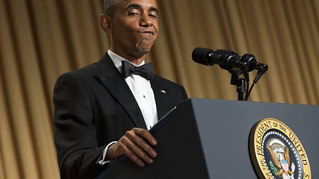 Kann auch lustig: US-Präsident Barack Obama beim Gala-Dinner