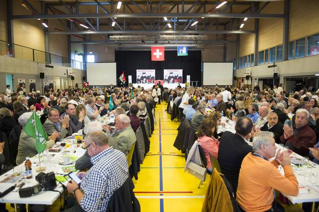 Die Delegierten der SVP in Rothenthurm SZ.