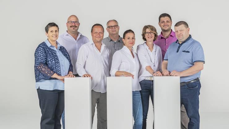 Von links: Gabi Baur, Roger Widmer, Loris Cosentino, Roger Zuber, Iris Flükiger, Jacqueline Menzi, Reto Bühlmann, Werner Scheibler.