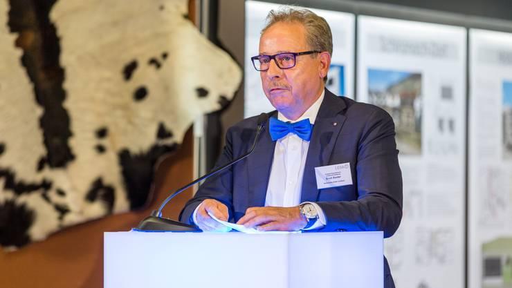 Der Präsident des Lenzburger Gewerbevereins, Erich Renfer, an der Lega'17