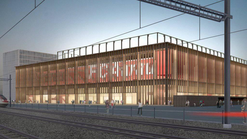 Visualisierung des geplanten Fussballstadions Torfeld in Aarau: Entgegen früheren Äusserungen, will sich der Detailhandelsriese Migros nun doch nicht einmieten.