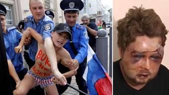 Wiktor Swjatskij (r.) ist der Kopf hinter der Aktivisten-Gruppe Femen. Vor kurzem wurde er brutal verprügelt.