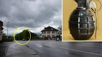 Eine solche Handgranate soll der Beschuldigte hier, an der Lenzburgerstrasse in Buchs, nach seiner Ehefrau geworfen haben.