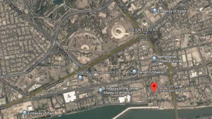 """In der besonders gesicherten sogenannten """"Grünen Zone"""" im Stadtzentrum von Bagdad befinden sich zahlreiche Ministerien und Botschaften."""