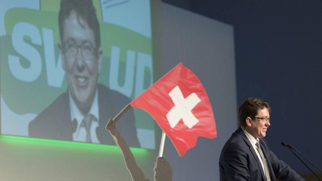 """SVP-Parteipräsident Albert Rösti an der DV in Appenzell: """"Die SVP steht unter Strom. Geniessen wir es."""""""