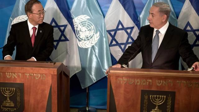 UNO-Generalsekretär Ban mit Israel Premier Netanjahu