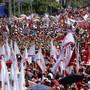 Die Grosskundgebungen von Regierung und Opposition in  Venezuela sahen sich am Samstag streckenweise ziemlich ähnlich. Hier Anhänger von Präsident Maduro.