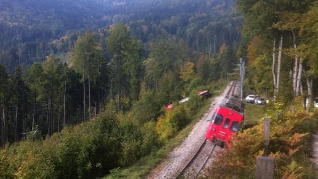 Die Lokomotive prallte in einem Masten der Fahrleitung, der Wagen landete neben der Zugstrecke zwischen Sainte-Croix und Yverdon-les-Bains im Waadtländer Jura.