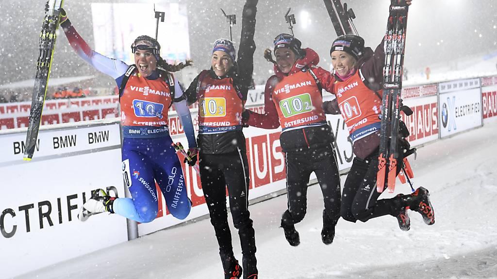 Schweizer Frauen-Staffel steht erneut auf dem Weltcup-Podest