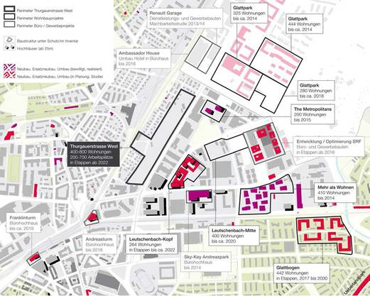 Das neue Quartier befindet sich unweit vom Bahnhof Oerlikon (unten links) und ist in schwarz eingezeichnet.