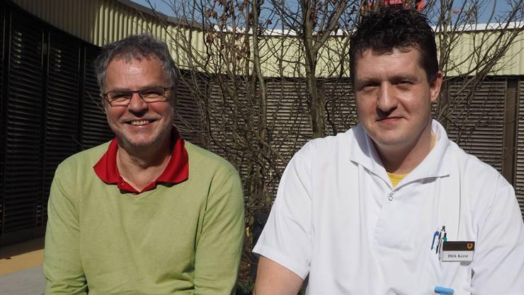 «Prognosen treffen selten so dramatisch ein, wie sie gemacht werden»: VAOF-Geschäftsführer Andre Rotzetter mit Dirk Kerst, der die Demenzstation leiten wird.