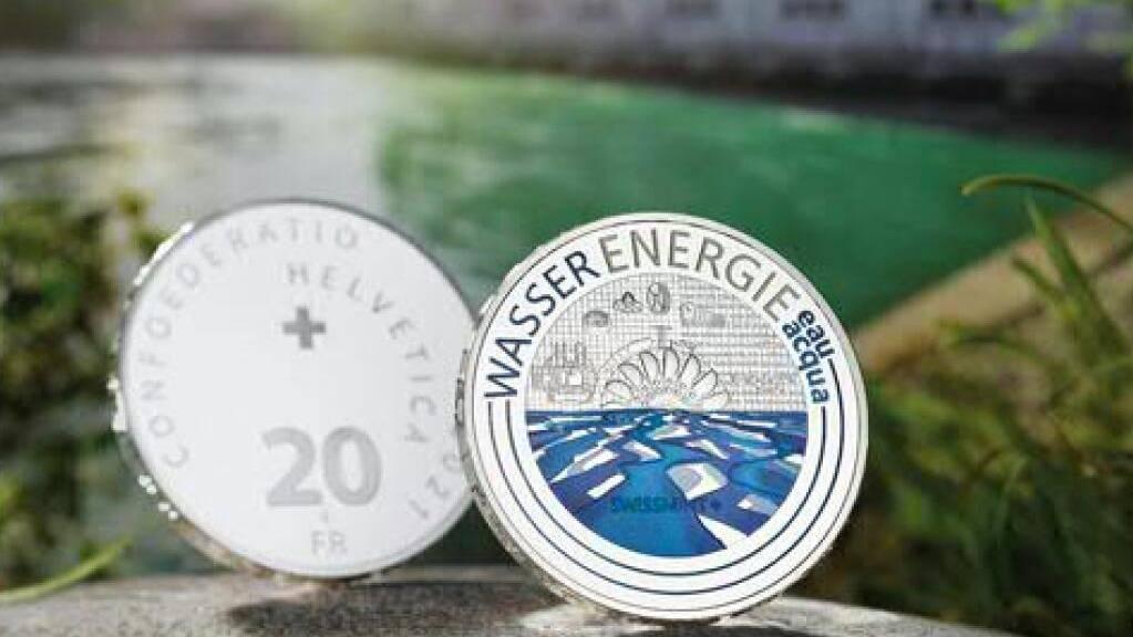Die neue Sondermünze zum Thema Wasserenergie.