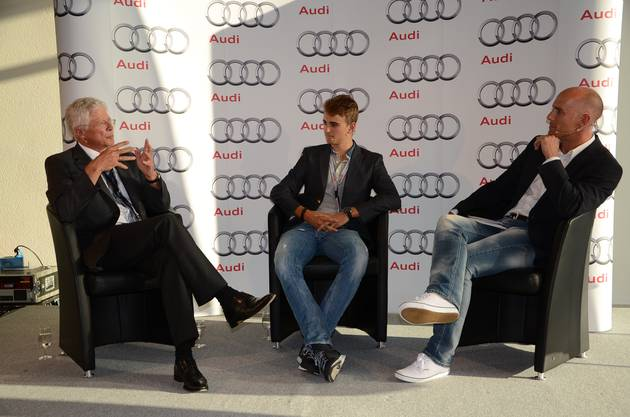 Nico Müller und Arno Zensen im Interview  mit Moderator Michael Sokoll  (rechts)