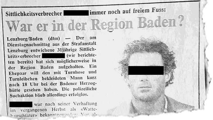 «Chloroform-Unhold» im «Badener Tagblatt», 19.6.1980