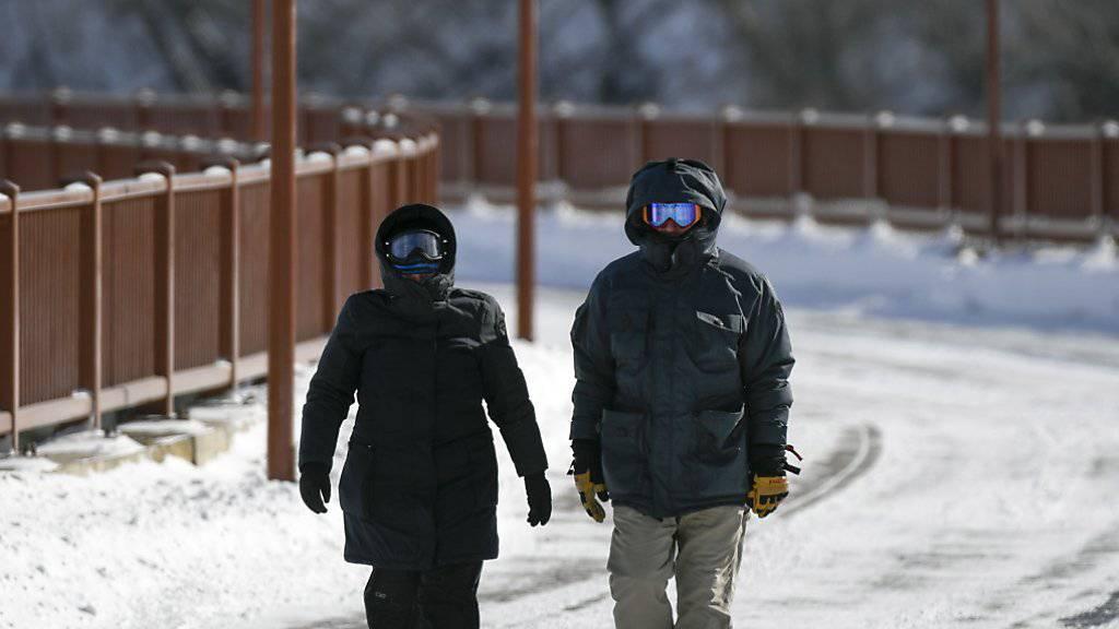 """Gut """"verpackte"""" Spaziergänger in Minneapolis: Einige Bundesstaaten haben wegen der Kälte den Katastrophenfall ausgerufen."""