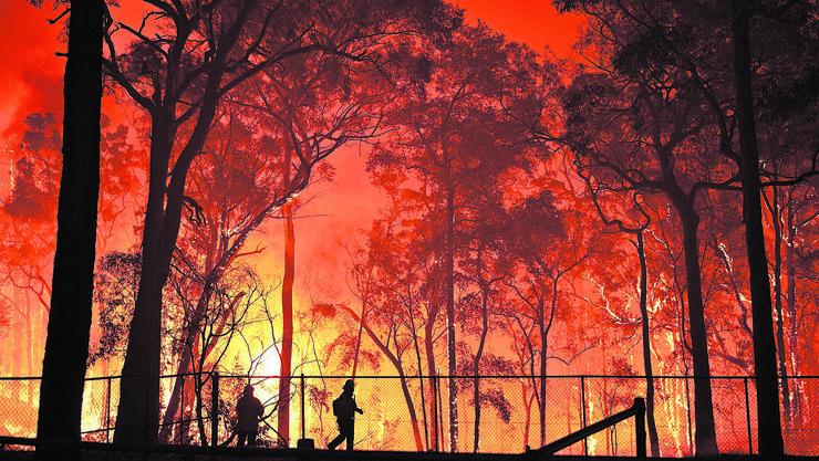Ein Buschfeuer südwestlich von Sydney. Aufgenommen am 19.November 2019.