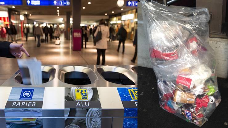 Vorbild Bern: Hier können Pendler ihren Abfall säuberlich trennen. Ein anderes Bild zeigt sich in Aarau (rechts).