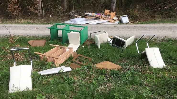 Möbelstücke lagen verstreut im Wald herum, die Polizei sucht Zeugen. zvg