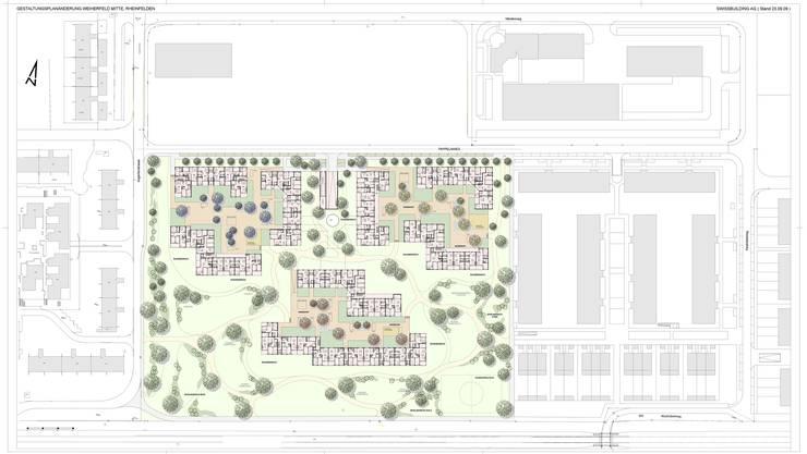 Überbauung Weiherfeld: Drei Wohninseln mit Innenhöfen, umgeben von einer grosszügigen Parkanlage; in Grau sind die bisherige Überbauung im Weiherfeld (rechts) und die Siedlung Augarten (links) angedeutet. zvg