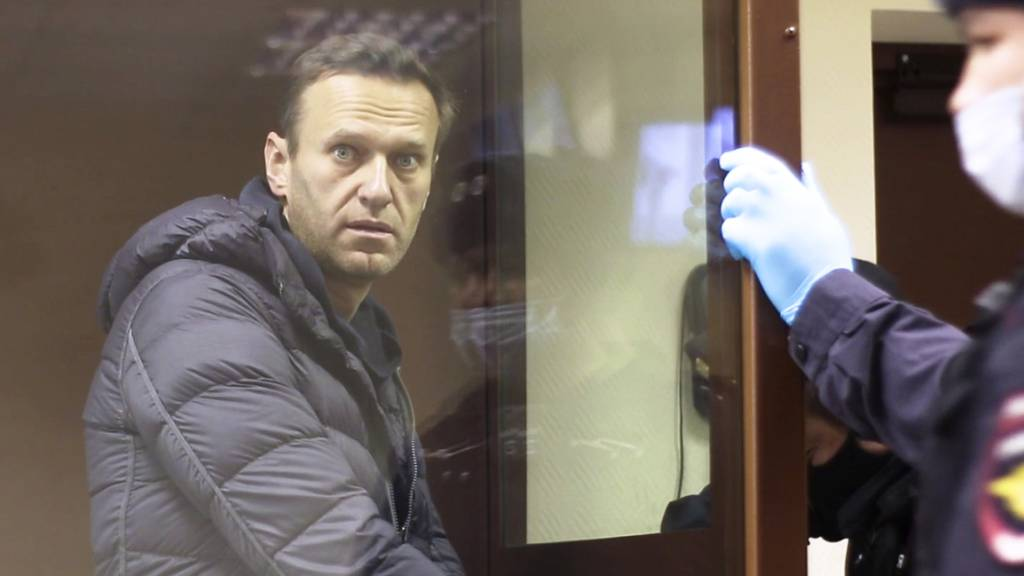 HANDOUT - In diesem Auszug aus einem vom Bezirksgericht Babuskinsky zur Verfügung gestellten Video steht der russische Oppositionsführer Alexej Nawalny während einer Anhörung im Bezirksgericht Babuskinsky in Moskau in einem Glaskasten. Foto: -/Babuskinsky District Court/AP/dpa