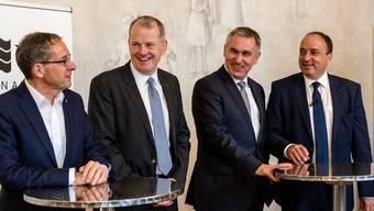 Die Aargauer Regierungsräte von links nach rechts: Urs Hofmann, Stephan Attiger, Alex Hürzeler und Markus Dieth.