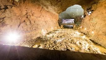 Blick in einen Stollen des Bergwerks Herznach