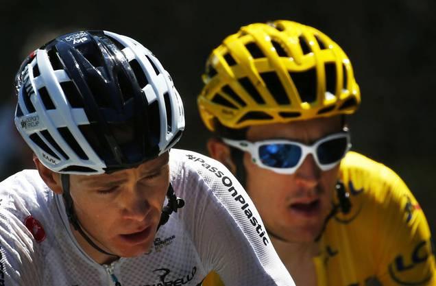 Froome (vorne) und sein Teamkollege Thomas vom Team Sky.