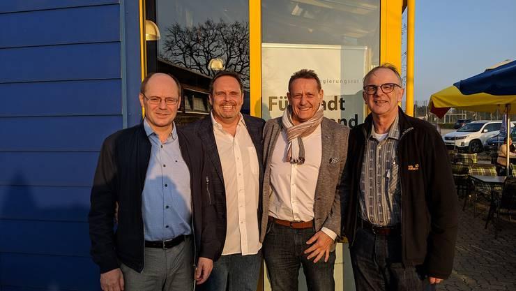 v.l.n.r. Gewählte Kantonsräte Diego Bonato, Rochus Burtscher, André Bender und Pierre Dalcher