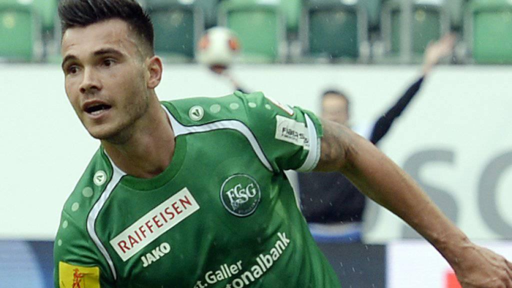 Goran Karanovic war 2015 vierfacher Torschütze für St. Gallen gegen den FC Aarau, bevor er in die französische Ligue 1 wechselte.