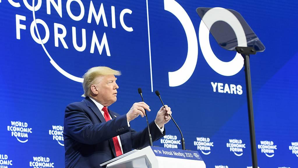 Lobt seine Wirtschaftspolitik: US-Präsident Donald Trump bei seiner Rede am WEF in Davos.