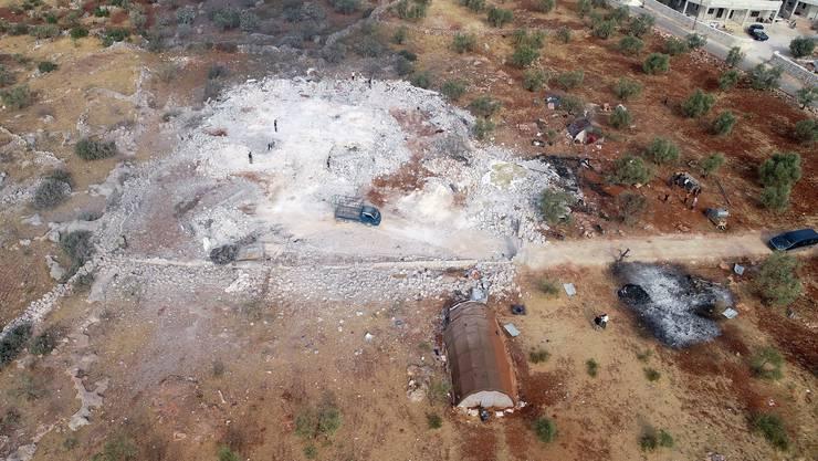 Das Gelände, wo Abu Bakr al-Baghdadi zuletzt Zuflucht fand, wurde komplett zerstört