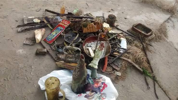 Diesen Abfall haben Simon Kneuss und sein Bruder Jérôme zusammen mit einer Kollegin aus der Reuss in Mellingen gefischt.