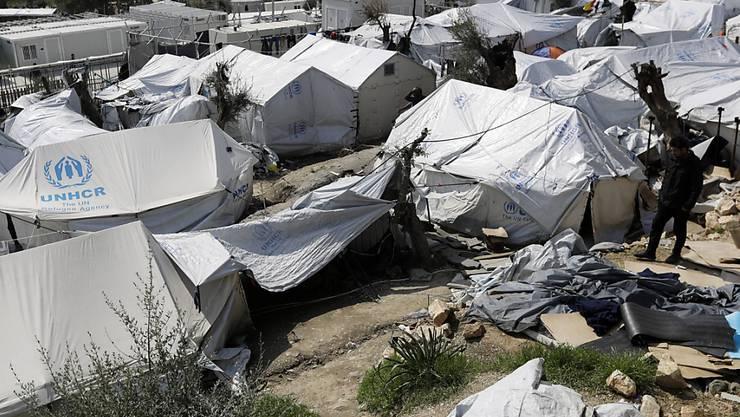 Aufnahme aus dem Flüchtlingslager Moria auf der griechischen Insel Lesbos. (Archivbild)