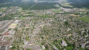Luftaufnahme Buchs, entstanden ca. 2012, Industriegebäude im Torfeld Süd und Bavaria stehen noch.