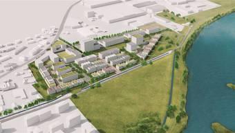 Statt Kieswerk und Industriehallen neu Wohnungen und Gewerbe: So könnte es dereinst aussehen auf dem Gebiet Grossacher in Kleindöttingen.Nightnurse Images