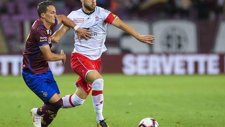 Luka Sliskovic (rechts), hier in einem Spiel gegen Servette, traf für den FCW in Aarau