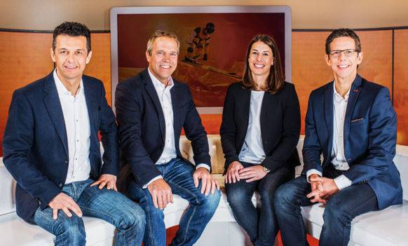 Billeter, Bont, Gisin und Felder – das SRF-Kommentatoren-Team bei den Frauen-Rennen.