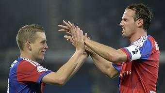 FCB-Torschützen unter sich: Fabian Frei (links) und Marco Streller