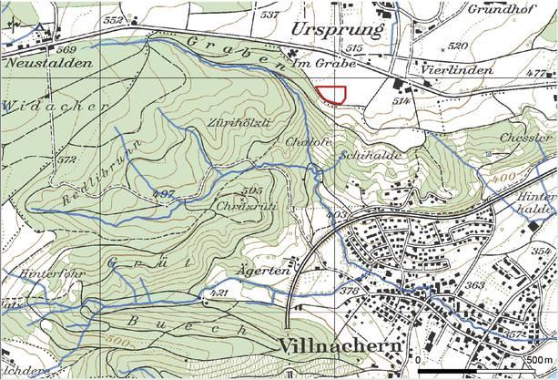 Die Nagra führt auf der Suche nach besten Standort für ein Atommüll-Tiefenlager Sondierbohrungen durch: Rot markiert die Lage des Bohrplatzes Bözberg 1 beim Ursprung, wo im Gebiet Jura Ost zuerst gebohrt wird.