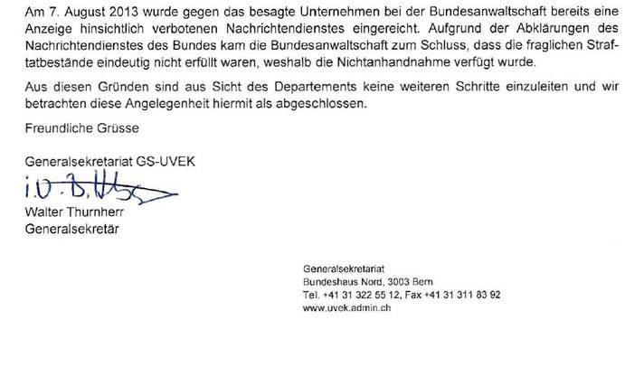 Das Schreiben von Walter Thurnherr