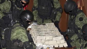 Mexikanische Soldaten neben sichergestelltem Drogengeld (Archiv)
