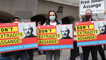 """Demonstranten stehen mit Plakaten mit der Aufschrift """"Don't Extradite Assange"""" (dt. Liefert Assange nicht aus) vor dem Old Bailey Gericht, im Vorfeld einer Anhörung im Kampf des Wikileaks-Gründers gegen die Auslieferung an die USA. Foto: Stefan Rousseau/PA Wire/dpa"""