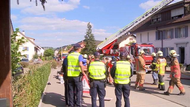 TeleM1-Bericht vom 29. September 2015: Brand in Gipf-Oberfrick: Stockwerk eines Mehrfamilienhauses komplett ausgebrannt. Menschen waren keine im Haus – dafür vier Hunde.
